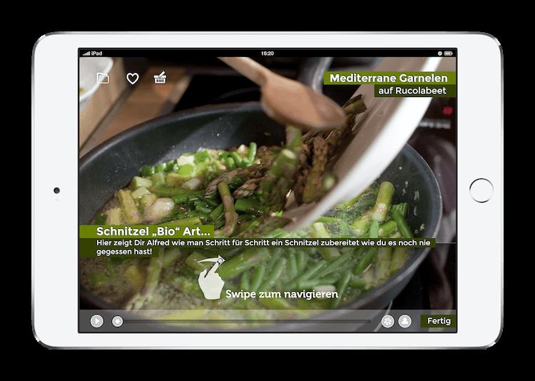 Alfred Biolek iPad iOS interaktives Kochbuch Mediterrane Garnelen auf Rucolabeet