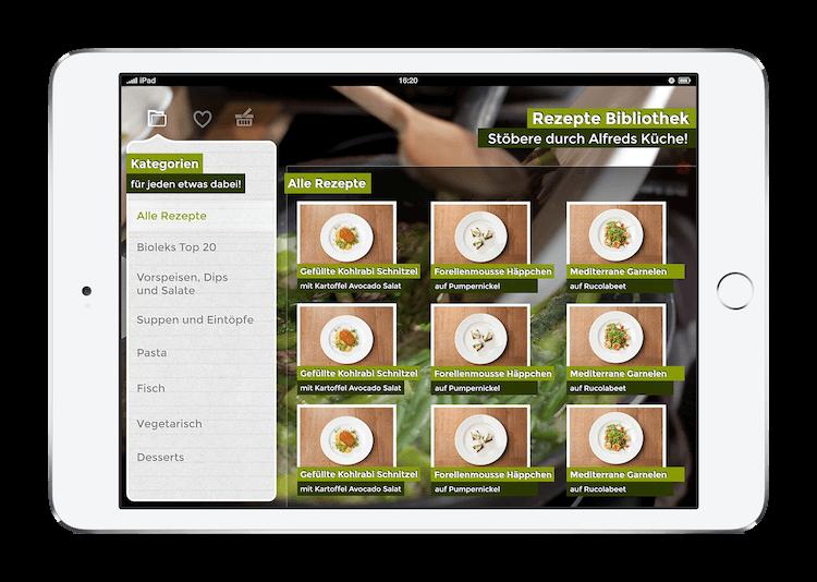 Alfred Biolek iPad iOS interaktives Kochbuch Rezepte Bibliothek