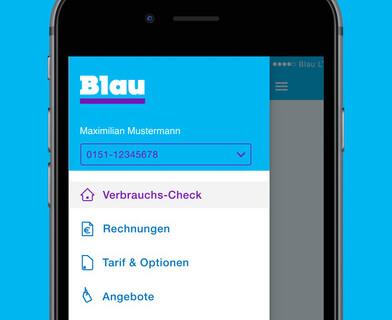Blau iPhone App Verbrauchs-Check